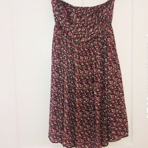 Strapless Floral Boho Dress